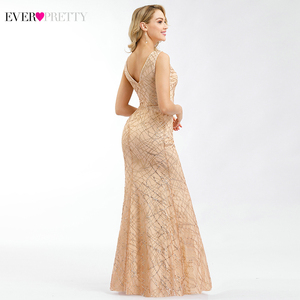 Image 2 - Ever Pretty Rose Gold Prom Dresses V Neck Elegant Evening Party Gowns Sparkle Little Mermaid Dresses Robe De Soiree Paillette