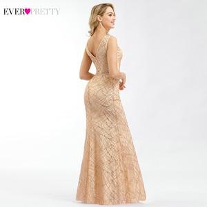 Image 2 - Ever Pretty Rose or robes De bal col en v élégant robes De soirée étincelle petite sirène robes Robe De soirée Paillette