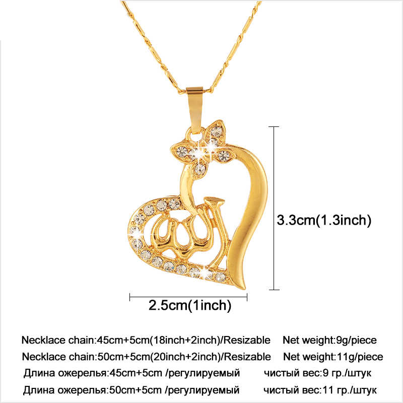 Trendy Charm Heart Islamic God Allah Muslim Pendant necklace for Gold color  religious symbol women jewelry Gift of Love