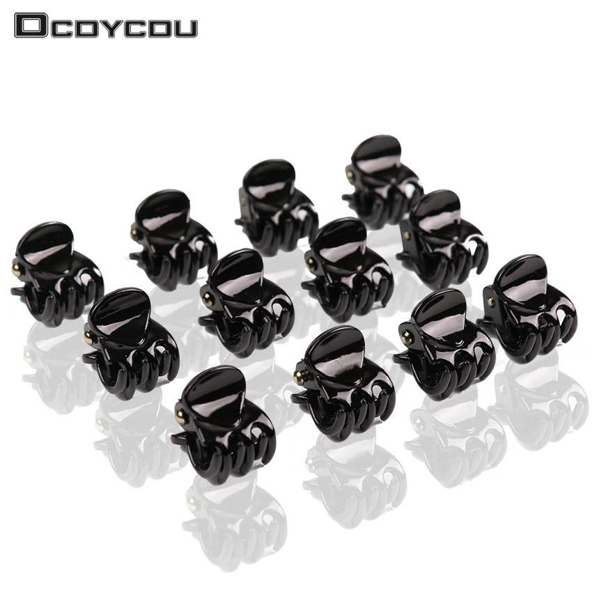 12 PCS Fashion Women Girls Hair Accessories Black Plastic Mini Hairpin 6 Claws Hair Clip Clamp