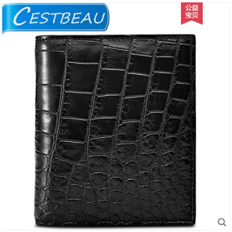 Cestbeau inside and outside  without splicing whole crocodile leather belly short wallet for menCestbeau inside and outside  without splicing whole crocodile leather belly short wallet for men