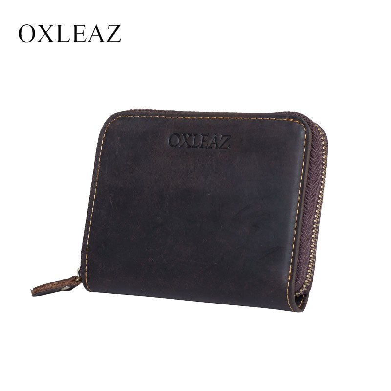OXLEAZ Male Crazy Horse Leather Coin Pouch Zipper Wallet Short Small Men's Wallet Genuine Leather Purse Women Card Money Bag men wallet male cowhide genuine leather purse money clutch card holder coin short crazy horse photo fashion 2017 male wallets