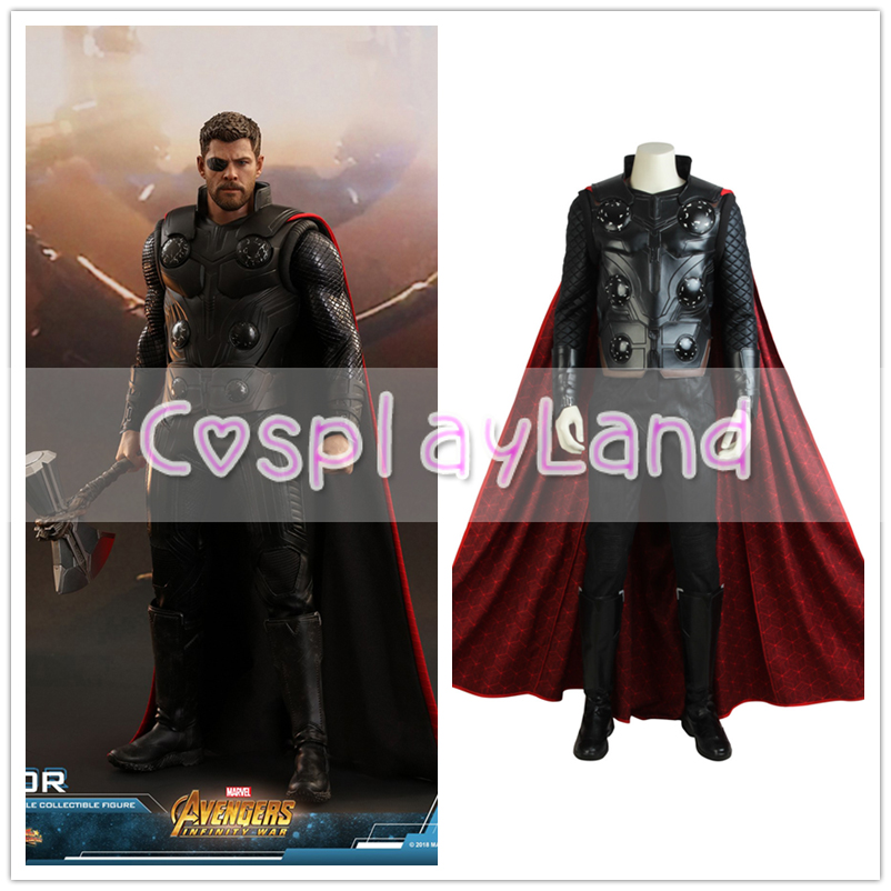 Avengers Infinity War Thor Cosplay Costume Movie Superhero Outfit The Avengers 3 Halloween Red Cloak Adult Men Thor Costume