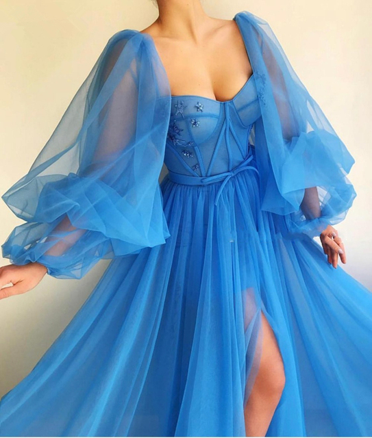 LORIE 2019 Long Puffy Sleeve Blue Prom Dresses Tulle Backless Lacing Evening Gowns Evening Party Gown Robe De Soiree Plus Size 2