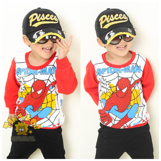 Паук дети в одежда 100% хлопок флис дети длинная - рукав футболки толстовка флис