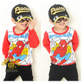 Moda hombre araña ropa de los niños 100% algodón infantil largo manga camiseta sudadera polar envío gratis