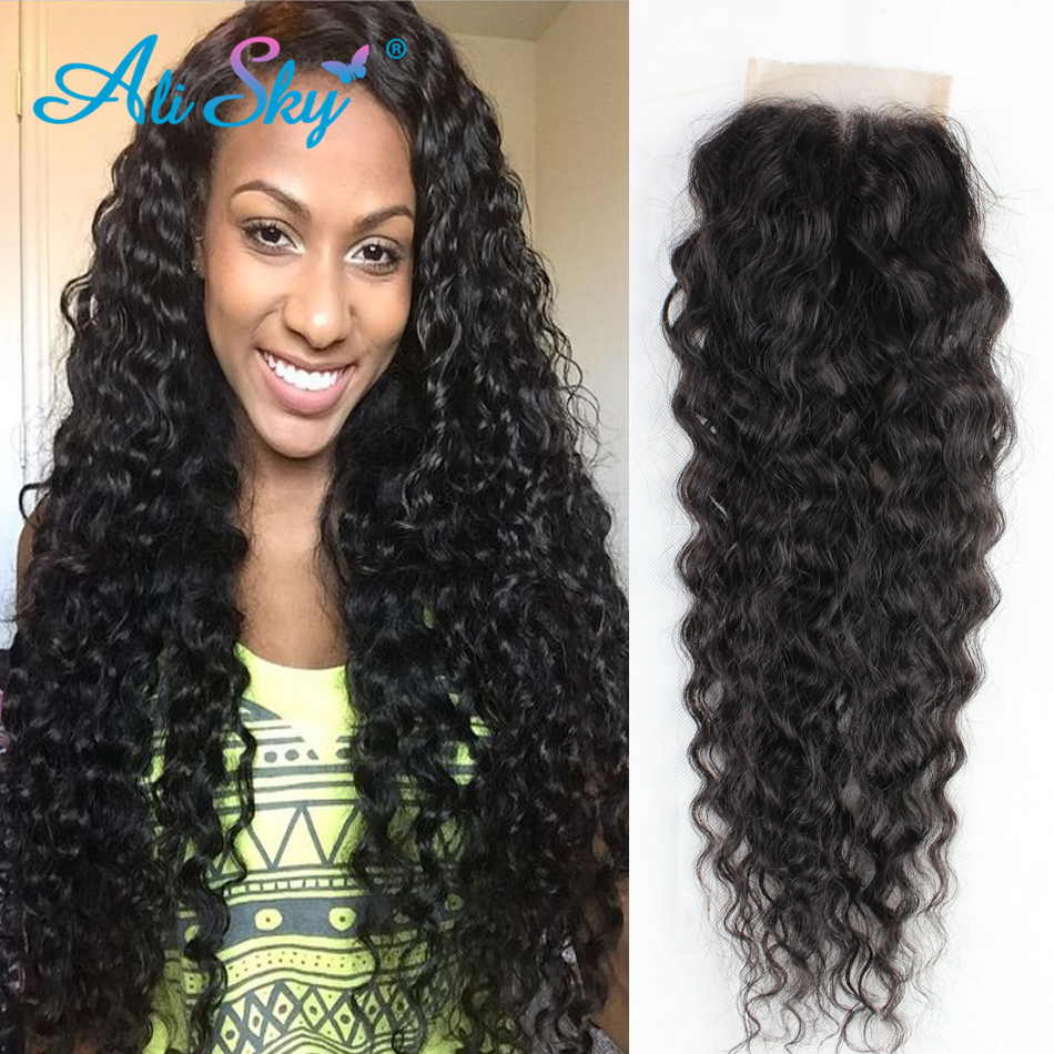 Raw Indian Lace Closure Kinky Curly Virgin Hair 4x4 Indian