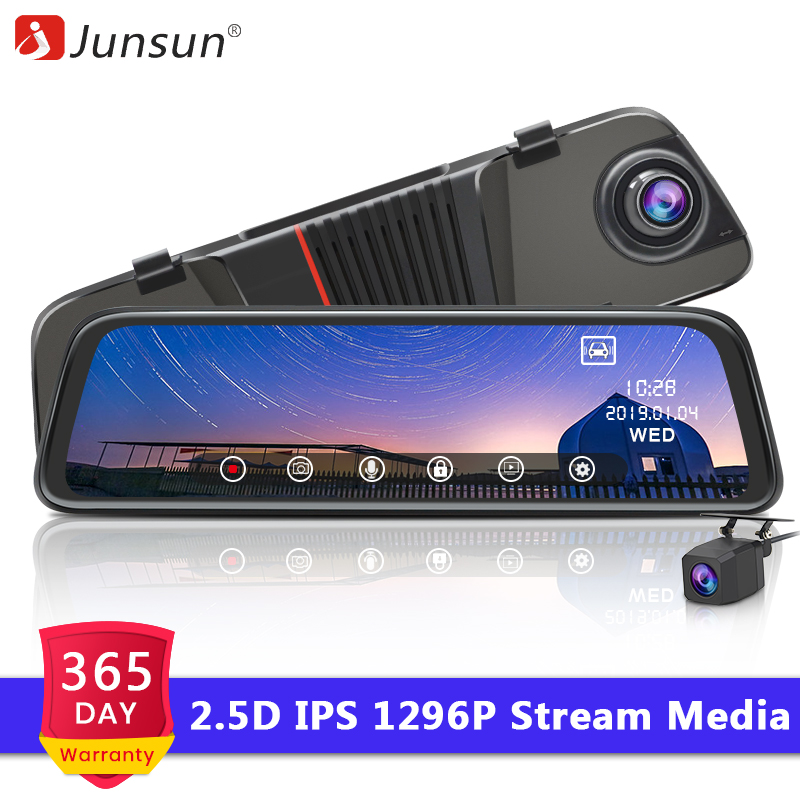 Junsun Rearview-Mirror-Dvr Media Parking-Monitor Dash-Camera Dual-Lens H16 Stream Tech