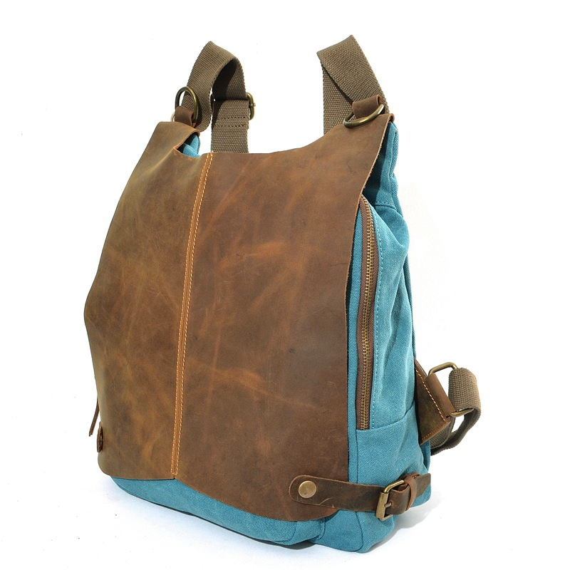 2016 Vintage Mens Canvas Backpack Crazy Horse Leather Leisure Rucksack Women School Canvas Daypack Retro Bookbag for Teenagers