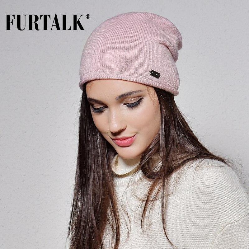 f34acead9b3 FURTALK 100% Wool Cashmere Autumn Winter Women Hat Knit Skullies Beanies  Hats for Girls Female
