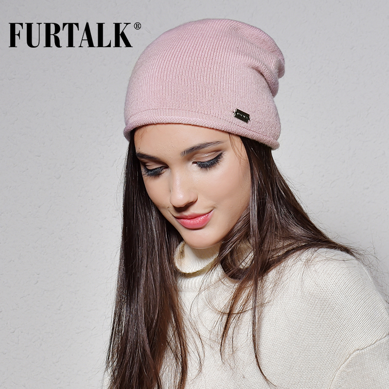 FURTALK 100% Wool Cashmere Autumn Winter Women Hat Knit Skullies Beanies Hats for Girls Female