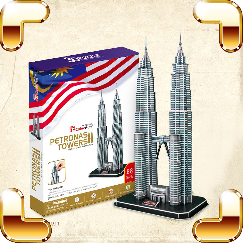 ФОТО New Arrival Gift Petronas Towers 3D Puzzles Model Construction Toy For Adult Educational Game DIY Learning Teach Tool Decoration