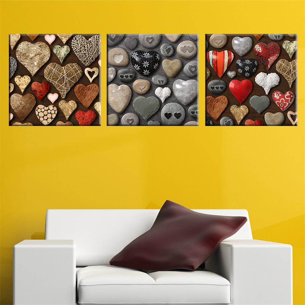 3 Pieces Heart Shape Stone Canvas Picture Art Print Wall Painting ...