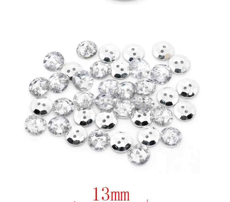 100 sztuk/partia okrągły akrylowe rhinestone przycisk koszula kryształ przyciski odzież akcesoria rzemiosło 2 otwory akrylowe przyciski scrapbooking