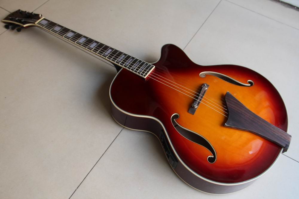 New Arrival Jazz Electric Acoustic Guitar semi hollow body in sunburst  120117 chibson lp custom small jazz electric guitar body ebony fingerboard with f hole semi hollow body in aged sunburst 110813