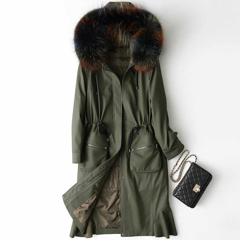 革のジャケットの女性ダウンコート秋冬コートの女性の服 2019 韓国スリムシープスキンのコートタヌキフード付き ZT687