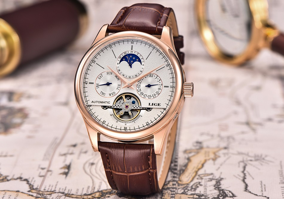HTB1wOMrfbSYBuNjSspfq6AZCpXae LIGE Brand Men Watches Automatic Mechanical Watch Tourbillon Sport Clock Leather Casual Business Wrist Watch Gold Relojes Hombre