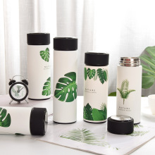 Premium Travel Coffee Mug Stainless Steel Thermos Cups Vacuum Flask Thermo Water Bottle Tea Mug Thermocup Tropical Palm Leaf