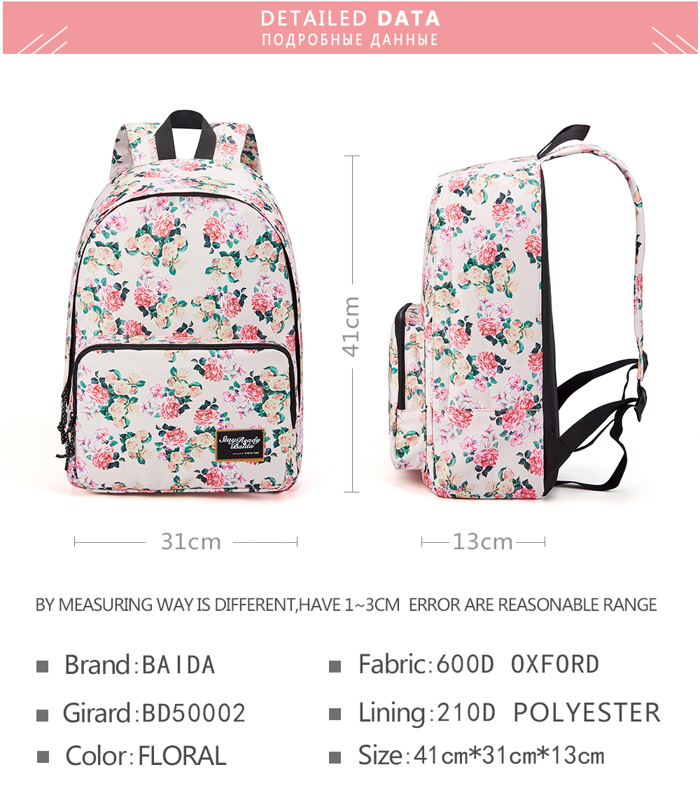 c8f952d17f BAIDA Brand Fashion Floral Print Backpack School Book Bags Yellow and Pink  Rose Flower Backpacks for Teen Girls High SchoolUSD 17.99 piece
