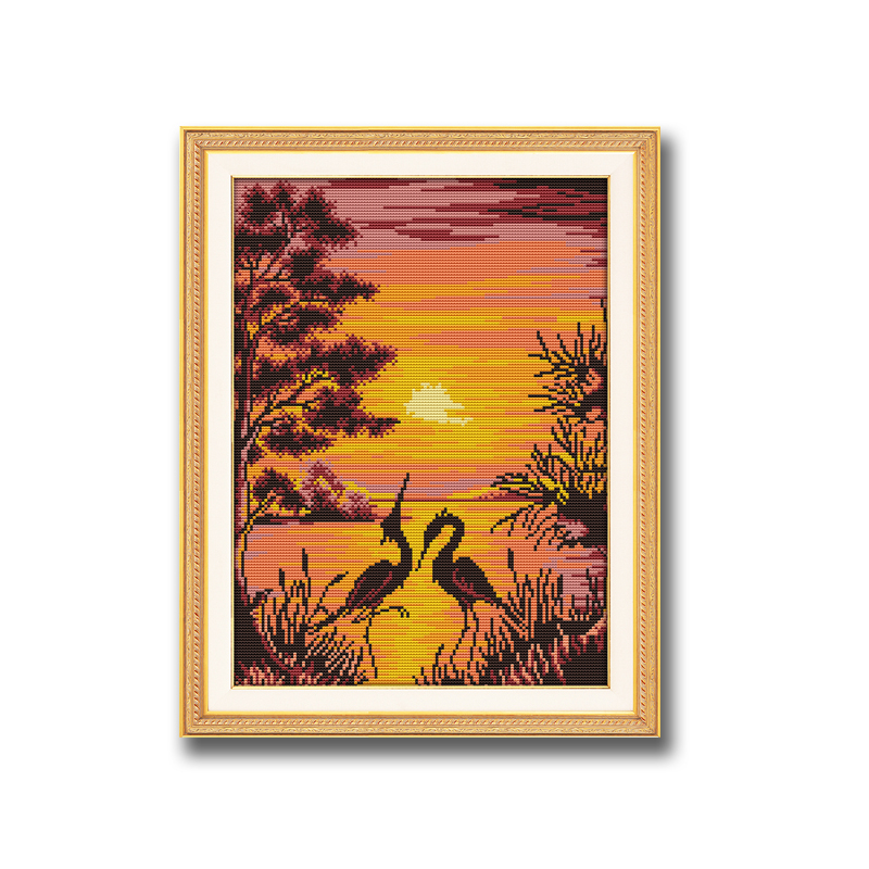 Sunset in the field Counted Cross Stitch Patterns Needlework embroidery