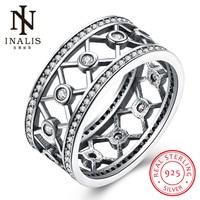 INALIS Elegant Rhinestone 925 Sterling Silver Rings White CZ Finger Hollow Ring For Women Fashion Wedding