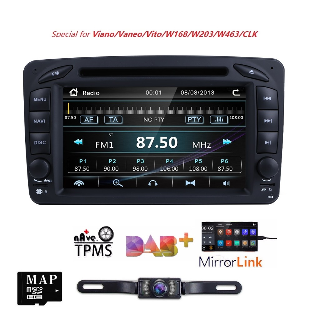 Lecteur DVD de voiture 2 Din 7 pouces pour Mercedes/Benz/CLK/W209/W203/W208/W463/W170/Vaneo/Viano/Vito/E210/C208 Canbus FM GPS Radio BT CAM