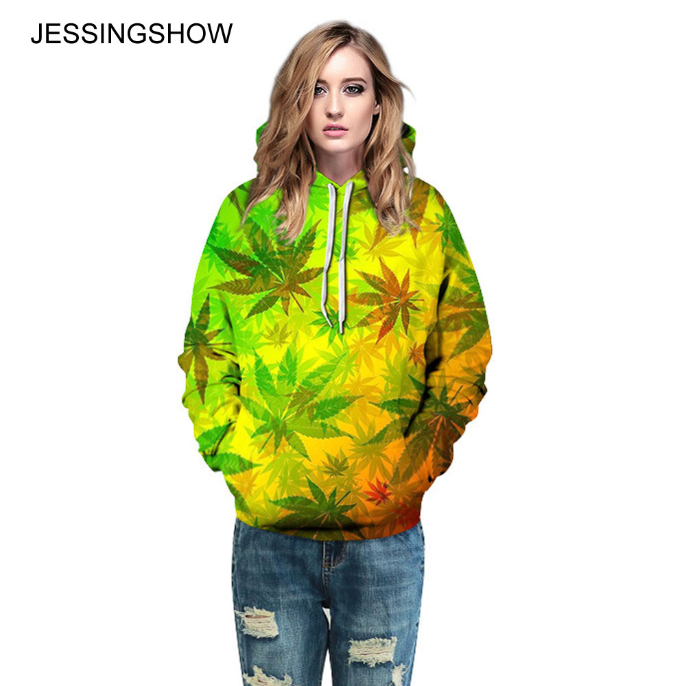 JESSINGSHOW New Women Men Hoodies Sweatshirts For Lover Leaf 3D Print Fashion Loose Pullover Tracksuit Hoody Tee sudaderas mujer