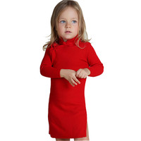 Girls Winter Sweater Dresses Toddler Baby Girls Spring Qipao Chinese Knit Year Dress Autumn Red Pink