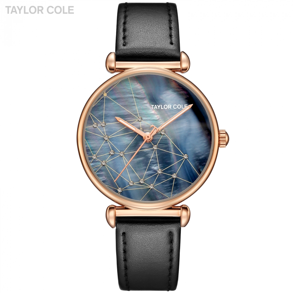 Fashion Taylor Cole Luxury Brand Lady Watch Rose Golden Case Navy Blue Dial Black Leather Strap Hodinky Women Dress Watch /TC143 taylor cole relogio tc013