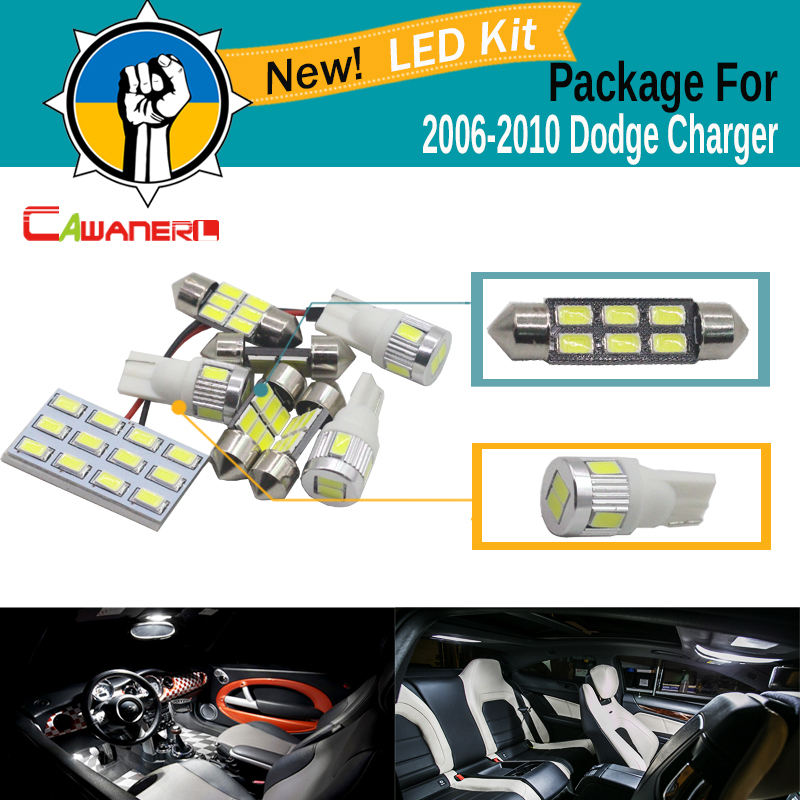Cawanerl Auto 5630 SMD LED Bulb LED Kit Package White For <font><b>2006</b></font>-2010 <font><b>Dodge</b></font> <font><b>Charger</b></font> Car Interior Dome Map License Plate Light image