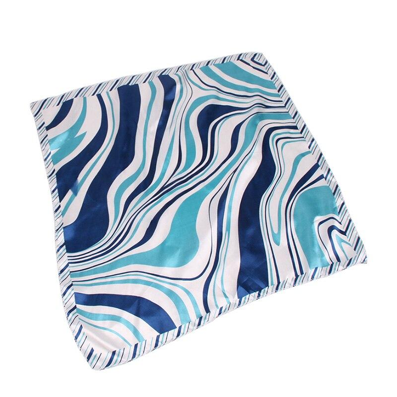 2pcs/pack Blue Stripe 50*50CM Small Square Hair Scarf Women Neck Hotel Waiter Attendants Business Imitate Bandana Silk Scarves