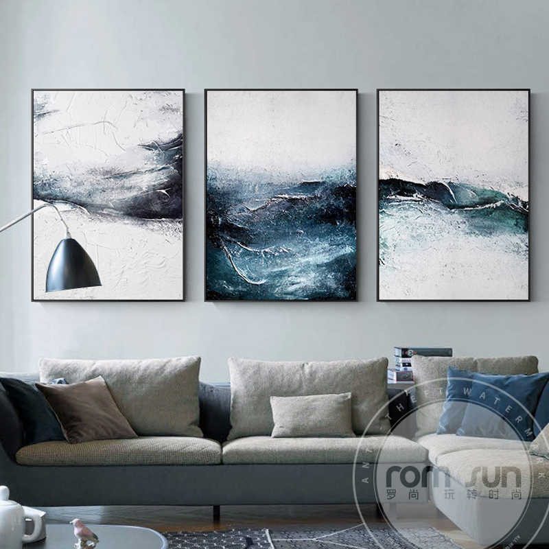 Nordic Style Dark Blue Powder Dust Poster And Print Abstract Canvas Painting Fashion Wall Art For Living Room Bedroom Home Decor