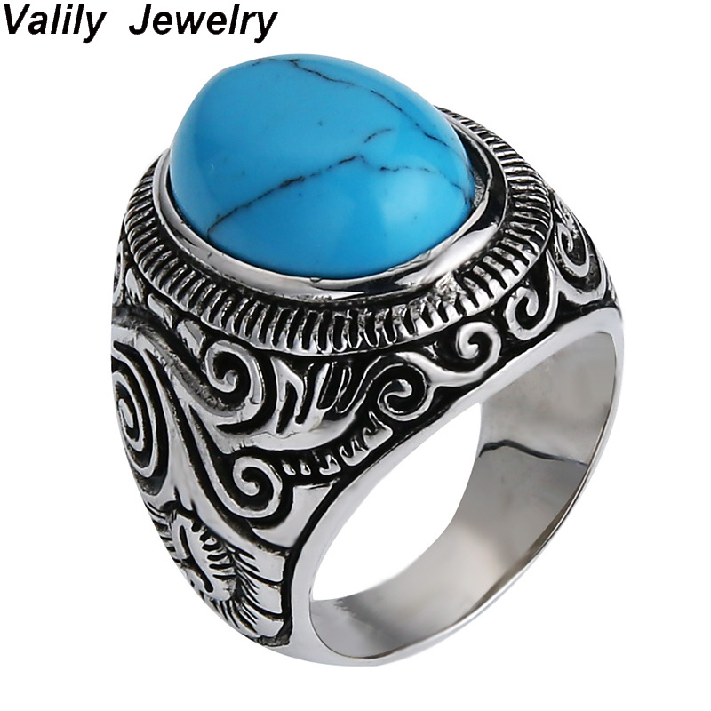 Valily Silver sterling 925 ring women Vintage Flower Oval Blue stone Ring Band Silver Black Royal Ring Finger Jewelry For Men rhinestoned flower leaf finger ring
