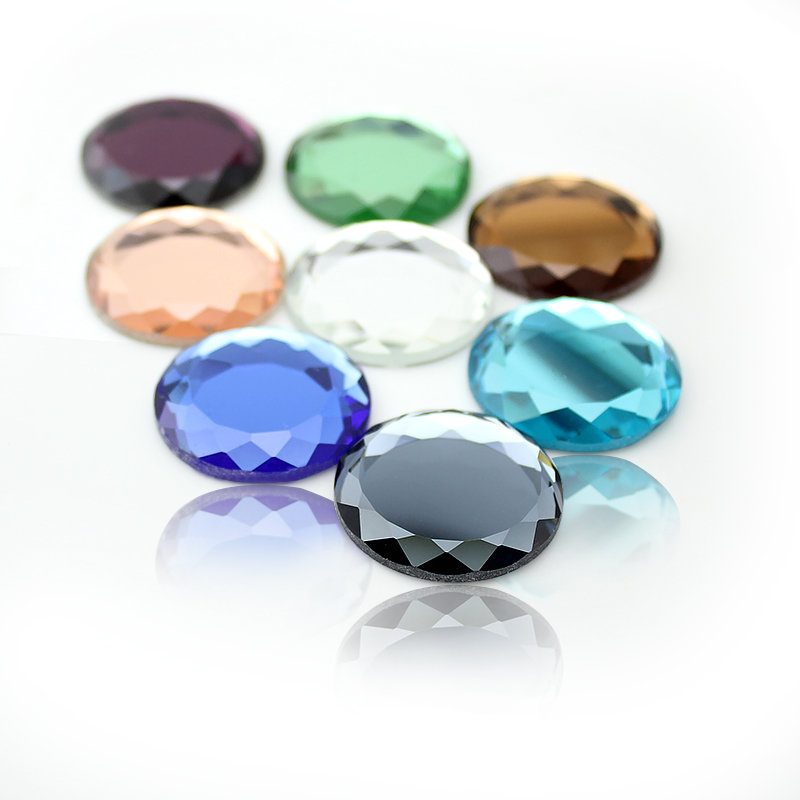 Hot Selling Non-hotfix 25mm  10pcs/lot Crystal Colorful Circular Crystal Newest Decoration Crystal Flatback Rhinestone