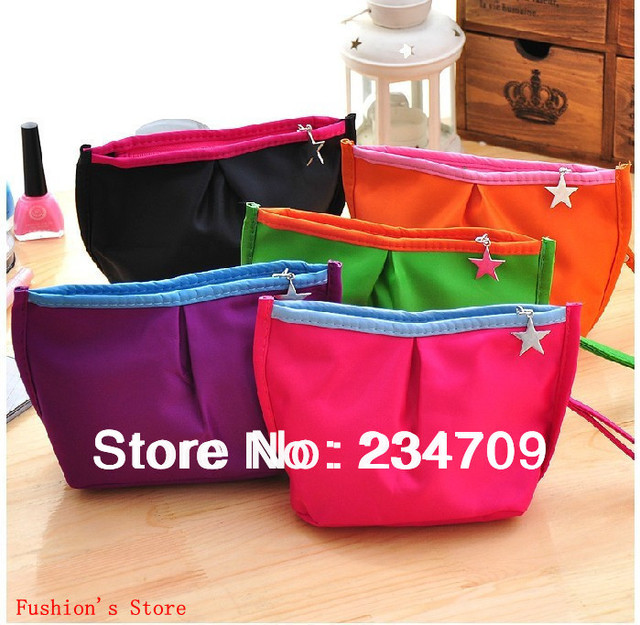 Free shipping,hot!new fashion 5 color five-pointed star solid nylon zipper,women bags,cosmetic bag&cases,make up bag,1 pcs/lot