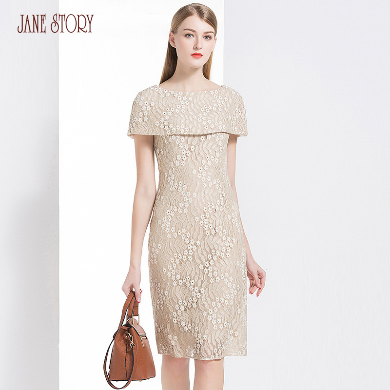 Jane Story 2018 Summer Women Dress Short Sleeve Double Layer Neck Elegant Floral Vintage Lace Dress Slim Office Lady Dress Femal