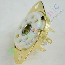 Wholesale and retail 4pc gold 8pin Ceramic vacuum tube socket loctal valve base for 5B254