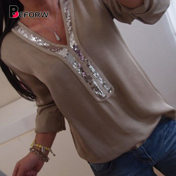 2019 New Women Sexy V Neck Sequins Chiffon Blouse Shirt Spring Summer Long Sleeve Black White Blouses Tops Plus Size 5XL