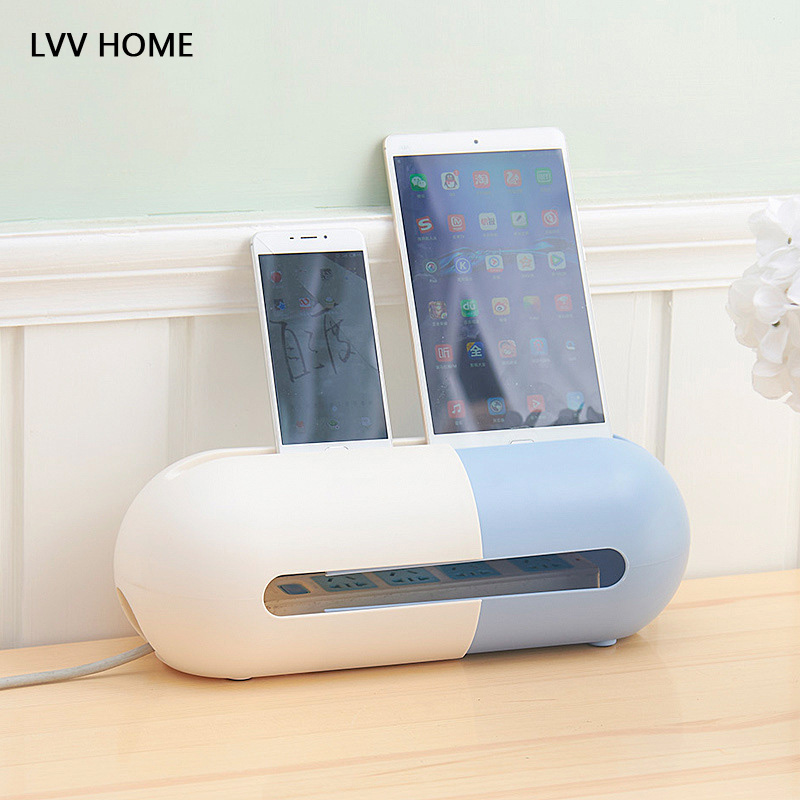 LVV HOME scalable plug board storage box/Oval desktop commodity shelf ellular phone bracket