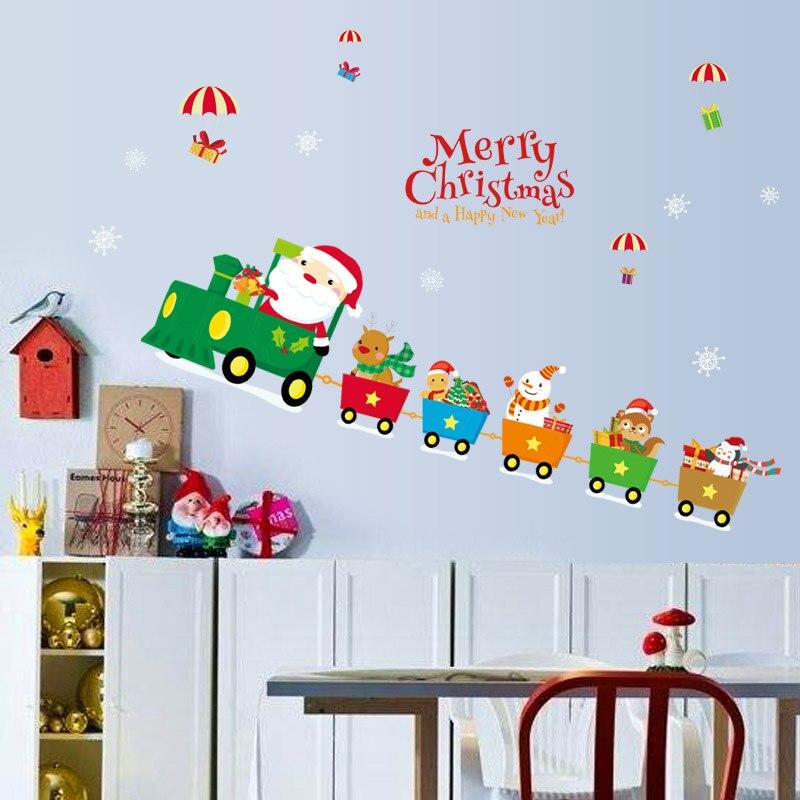 Fundecor Merry Christmas Wall Stickers Diy Christmas Train Festival