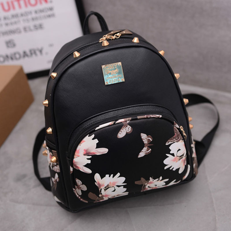 Fashion Trendy Girl Bag soft PU Leather Rivet Small Backpack Butterfly Flower Travel College Bag schoolbag for Teenage GirlsFashion Trendy Girl Bag soft PU Leather Rivet Small Backpack Butterfly Flower Travel College Bag schoolbag for Teenage Girls