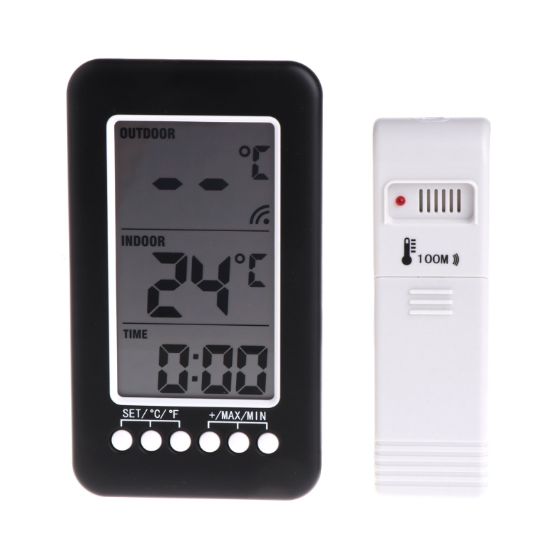 In/Outdoor Digital Wireless Thermometer Weather Station Clock Hygrometer L15