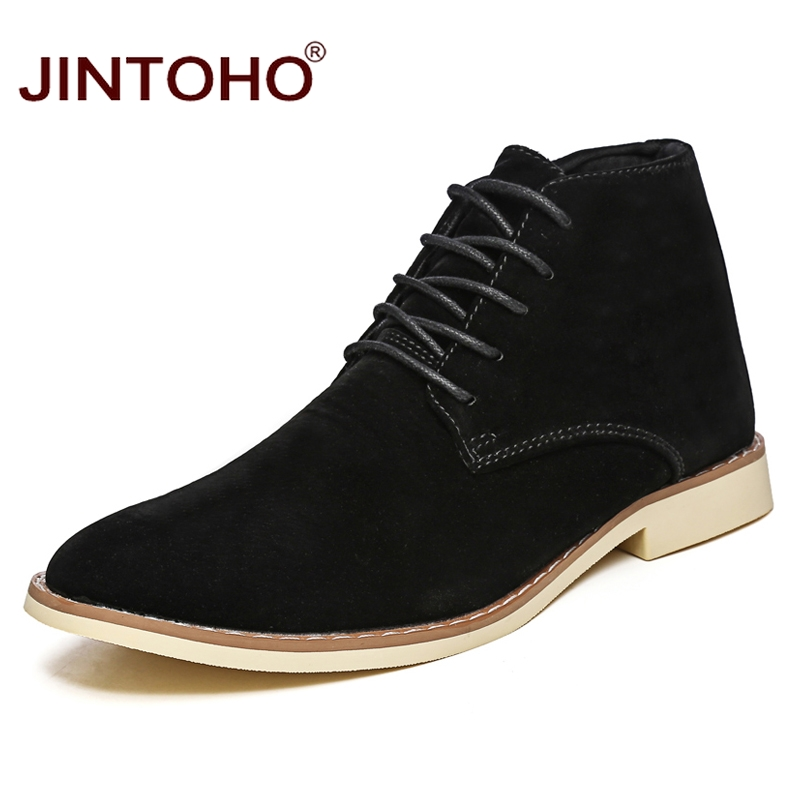 JINTOHO 2018 New Mens Winter Shoes Fashion Men Pig Suede Boots Pointed Toe Casual Men Shoes Winter Men Boots Cheap Male Boots