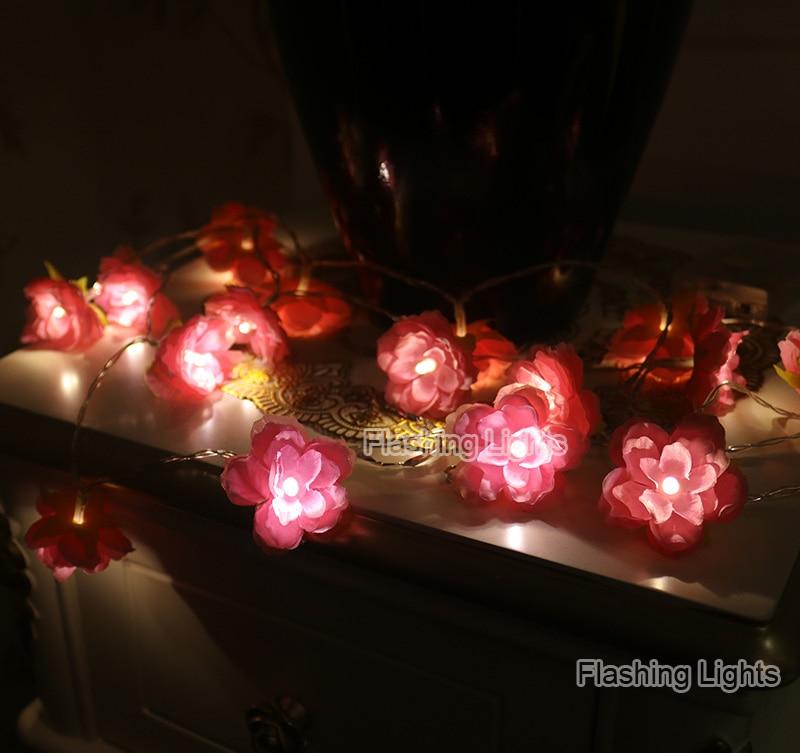 Novelty 2M / 3M hiasan buatan tangan Bunga Fairy String floral Lights - Pencahayaan perayaan - Foto 3