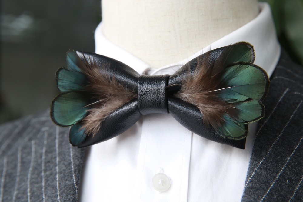 New Free Shipping fashion Men's male 2017 woman necktie Leather feather black bow tie copper chicken year Headdress promotion