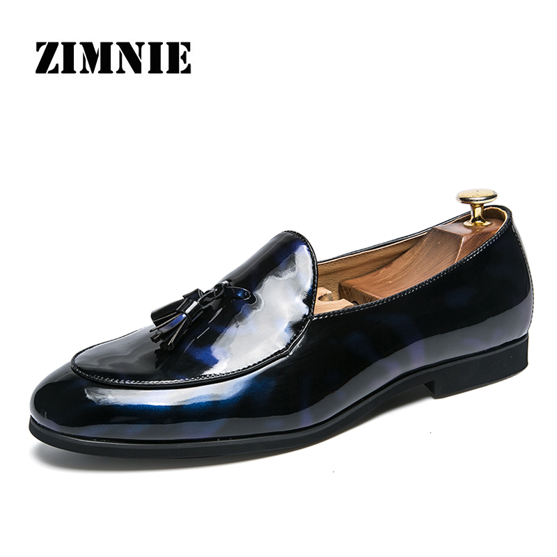 ZIMNIE New Patent Leather Shoes Men Casual Shoes 2019 Fashion Men Loafers Soft Driving Shoes Men's Handmade Chaussure Homme