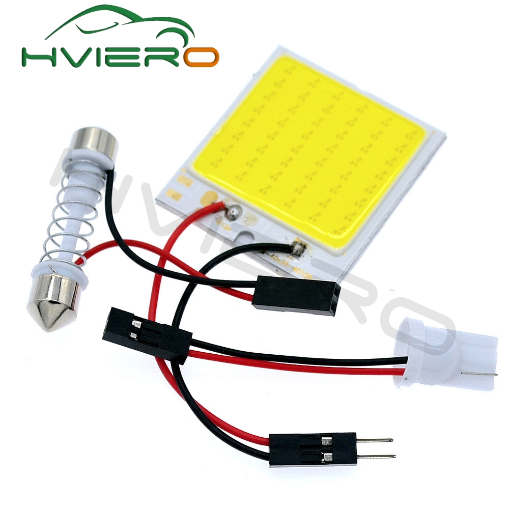 Promotion 1Pcs White T10 48Smd C5W Cob Led Panel Car Auto Interior Reading Map Lamp Bulb Light Dome Festoon BA9S 3Adapter DC 12v 2pcs white red blue t10 24 smd cob led panel car auto interior reading map lamp bulb light dome festoon ba9s 3adapter dc 12v led