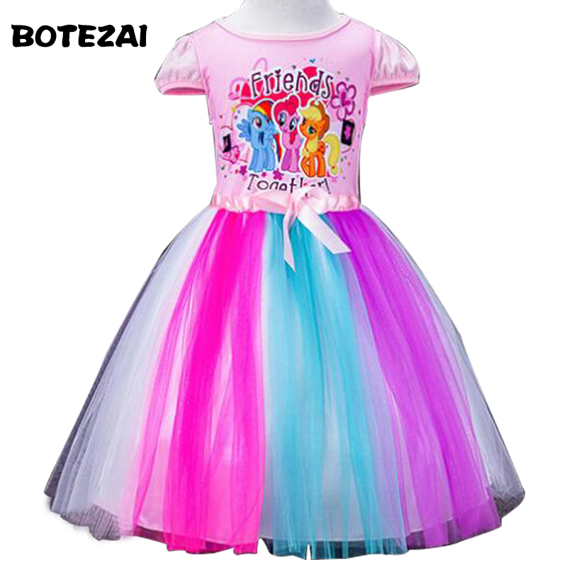 2-8 Yrs Big Kids Baby Girls Dress Little Pony Summer Girl Rainbow Dresses girls princess For Children Costume Vestidos цена