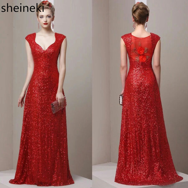 Cheap Vestido de Festa Sequins Red Gold Prom Dresses 2017 A Line ...