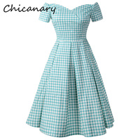 Chicanary Green Plaid Print Women Sweetheart Neck Vintage Dresses Off the Shoulder Retro Cocktail Party Dresses